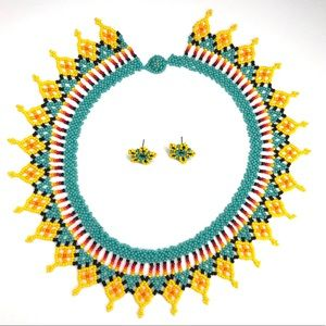Colombia UNIQUE Handmade Beaded Necklace Turquoise